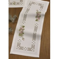 Hardanger and Rose Cross Stitch Table Runner  - Permin 75-1856